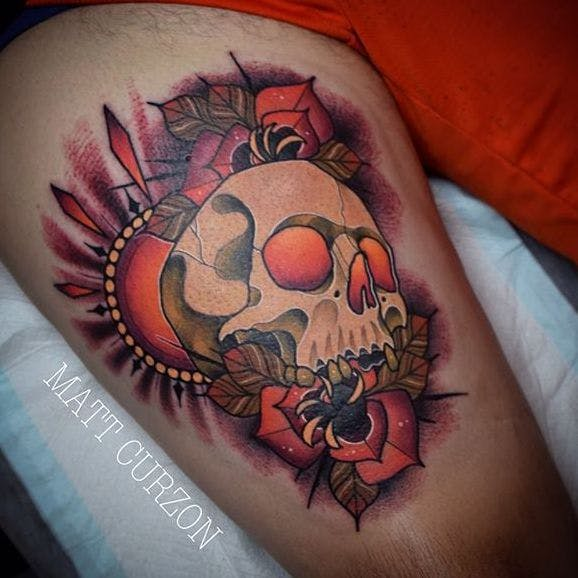 neotraditional skull tattoo thigh 1