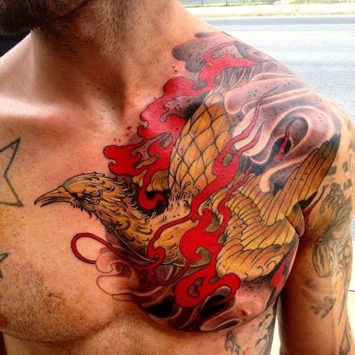phoenix tattoo men chest 1
