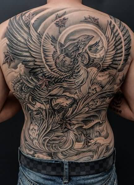 phoenix tattoo men full back 2