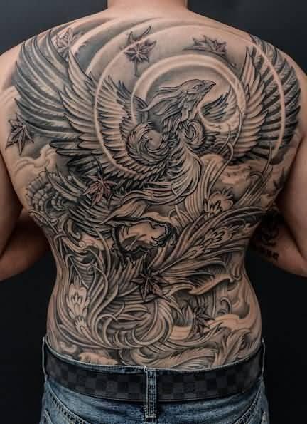 phoenix tattoo men full back 2