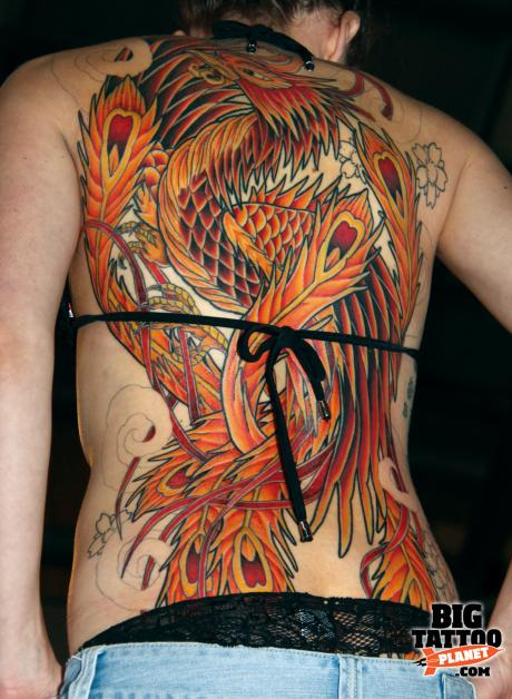 phoenix tattoo neotraditional full back 1