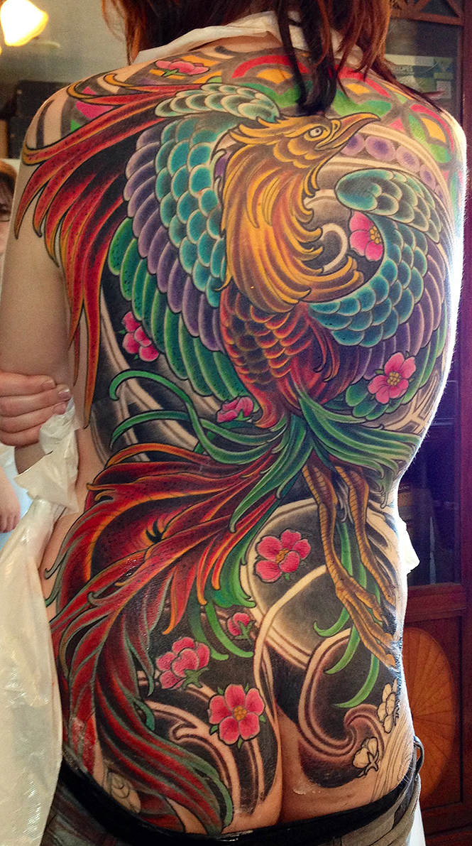 phoenix tattoo neotraditional full back 2
