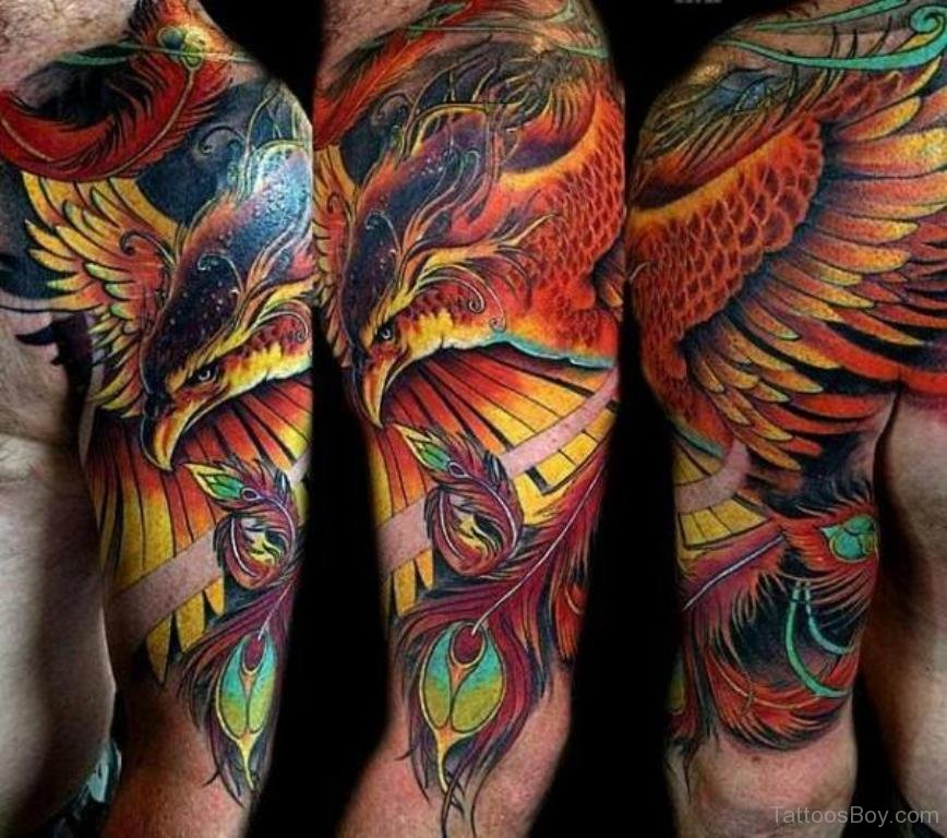 Japanese Flowers And Pheonix Tattoos On Half Sleeve: 50+ Fiery Phoenix Tattoo Ideas That Will Set You Ablaze