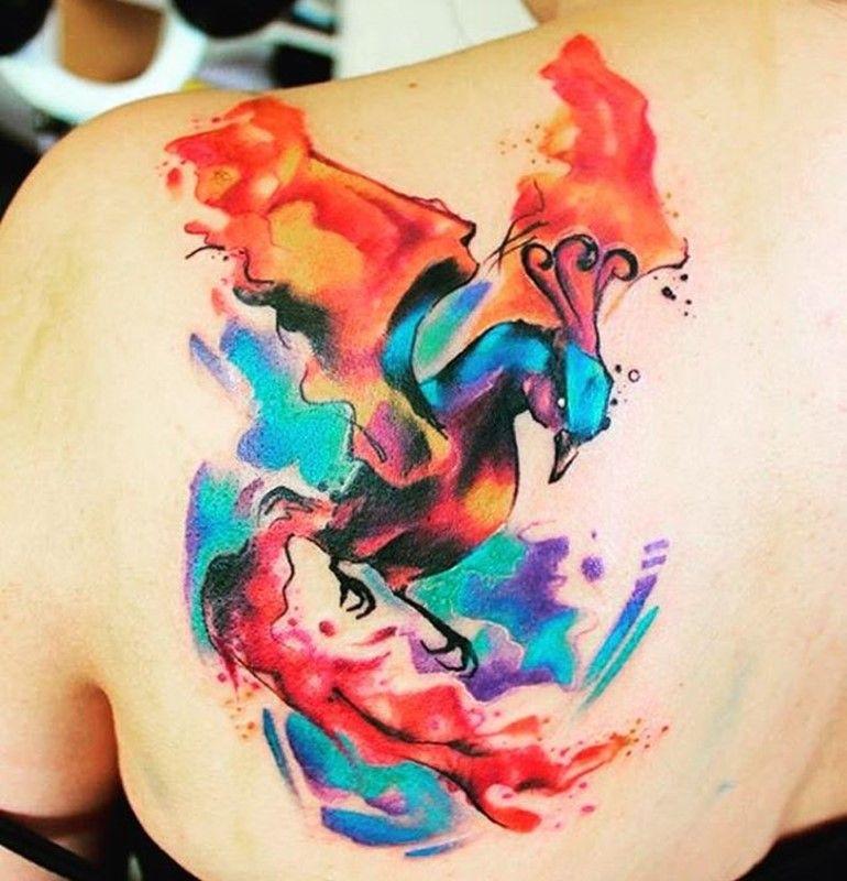 phoenix tattoo watercolor back 1