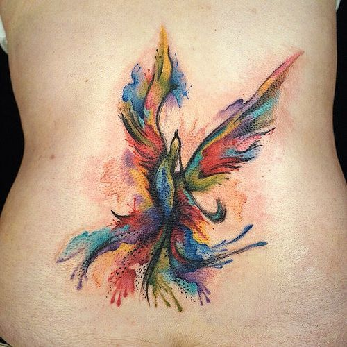 phoenix tattoo watercolor back 4