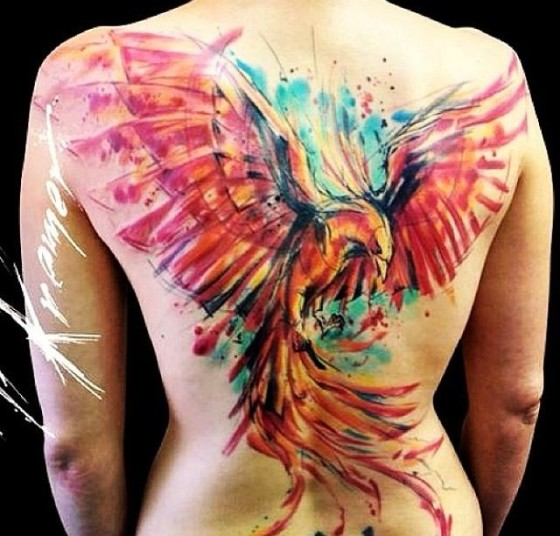 phoenix tattoo watercolor full back