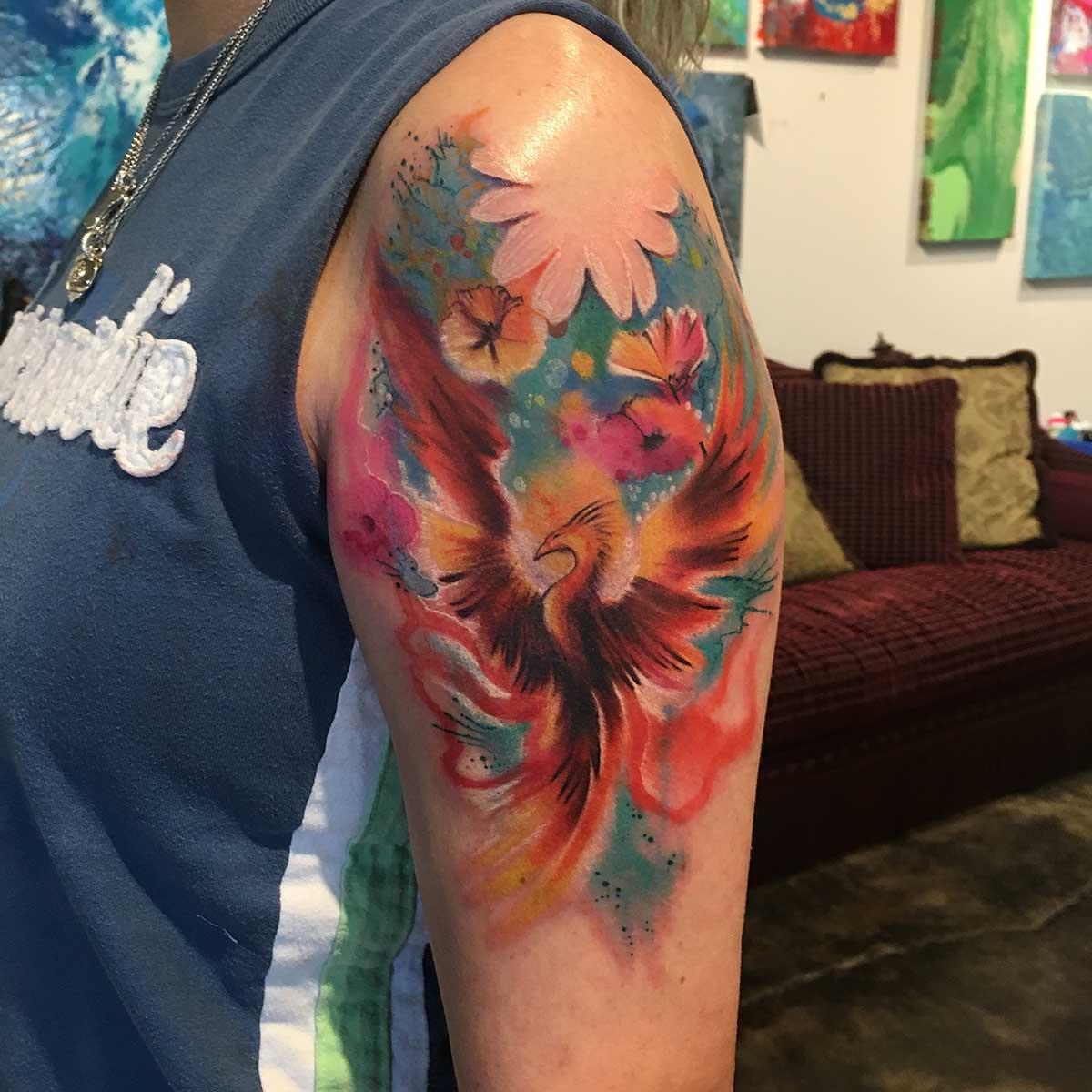 phoenix tattoo watercolor sleeve 1