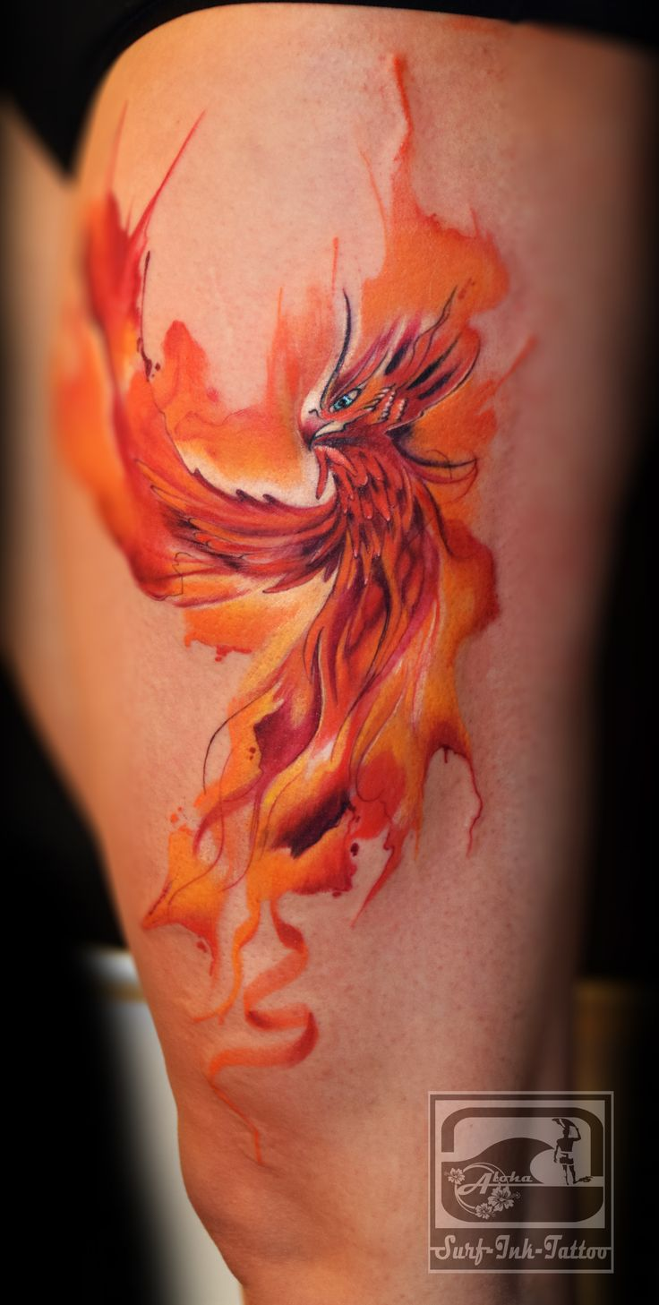 phoenix tattoo watercolor thigh 1