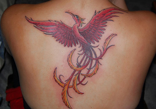 phoenix tattoo women back 1