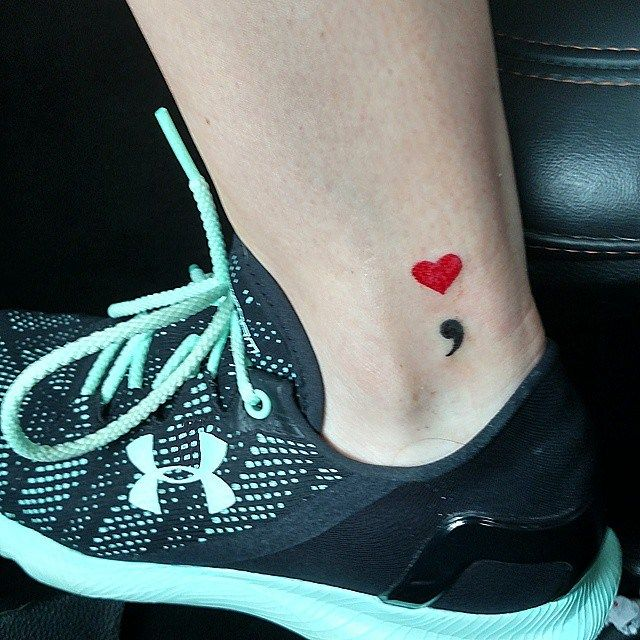 semicolon tattoo women ankle 4