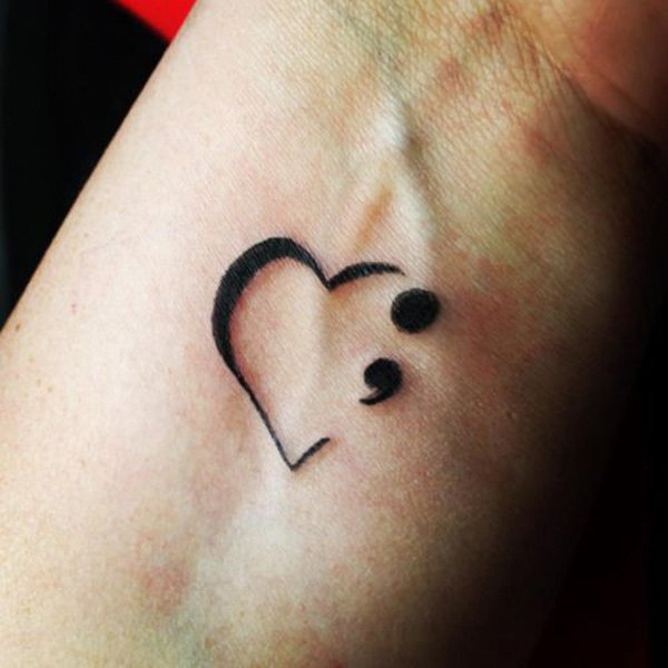 semicolon tattoo women heart 1