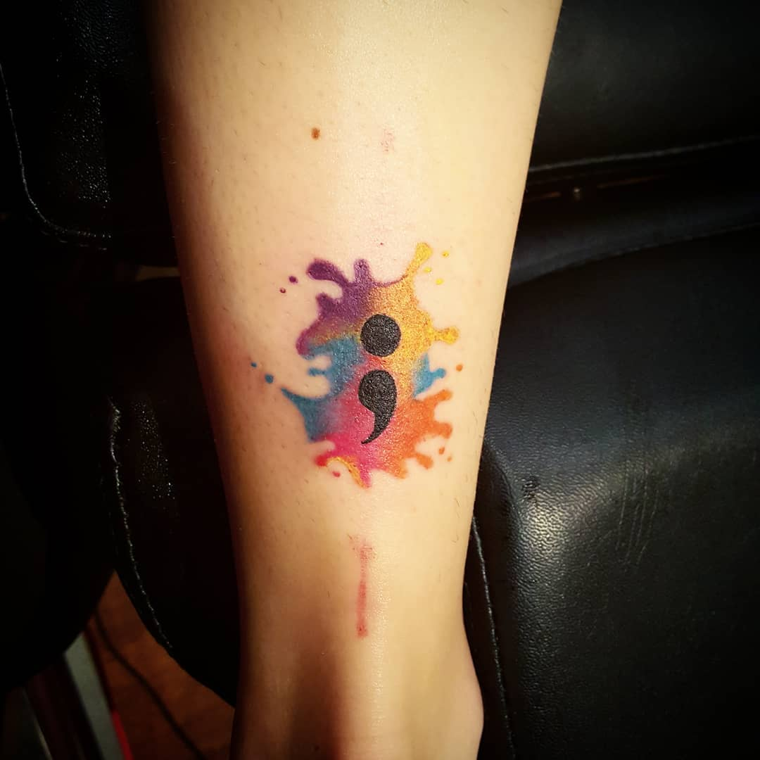 semicolon tattoo women watercolor ankle