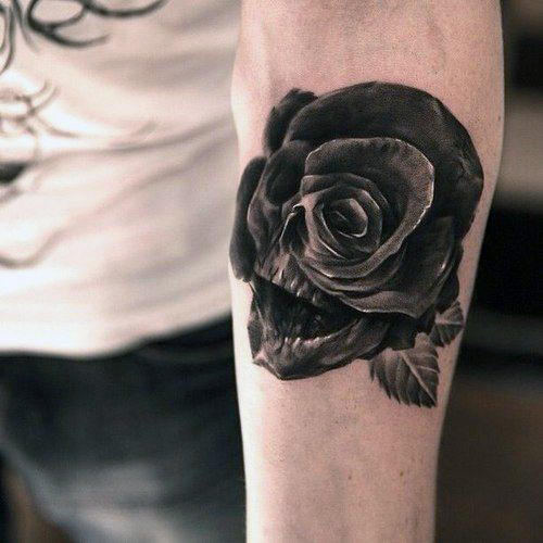skull rose tattoo arm 1