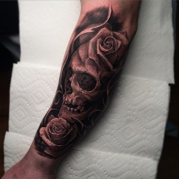 skull rose tattoo arm 2