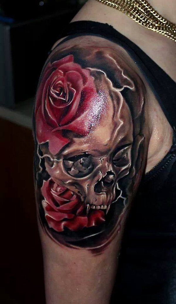 skull rose tattoo arm 3