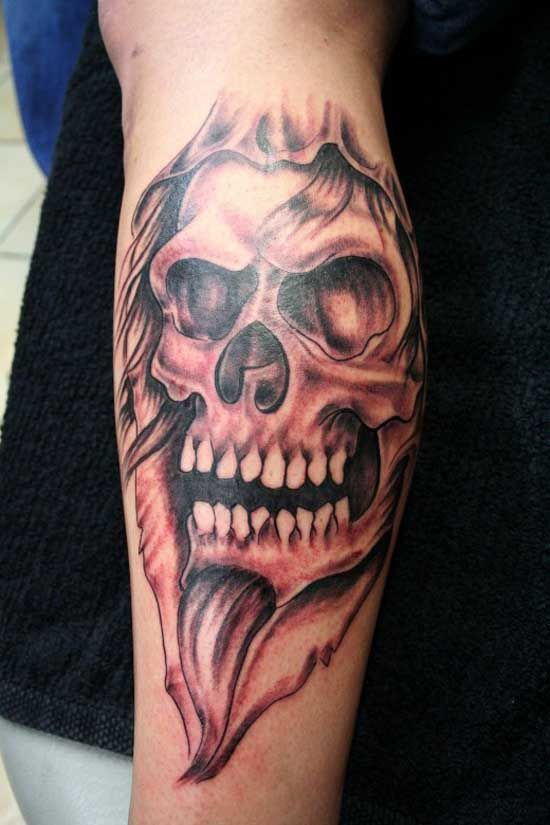 traditional skull tattoo arm 2