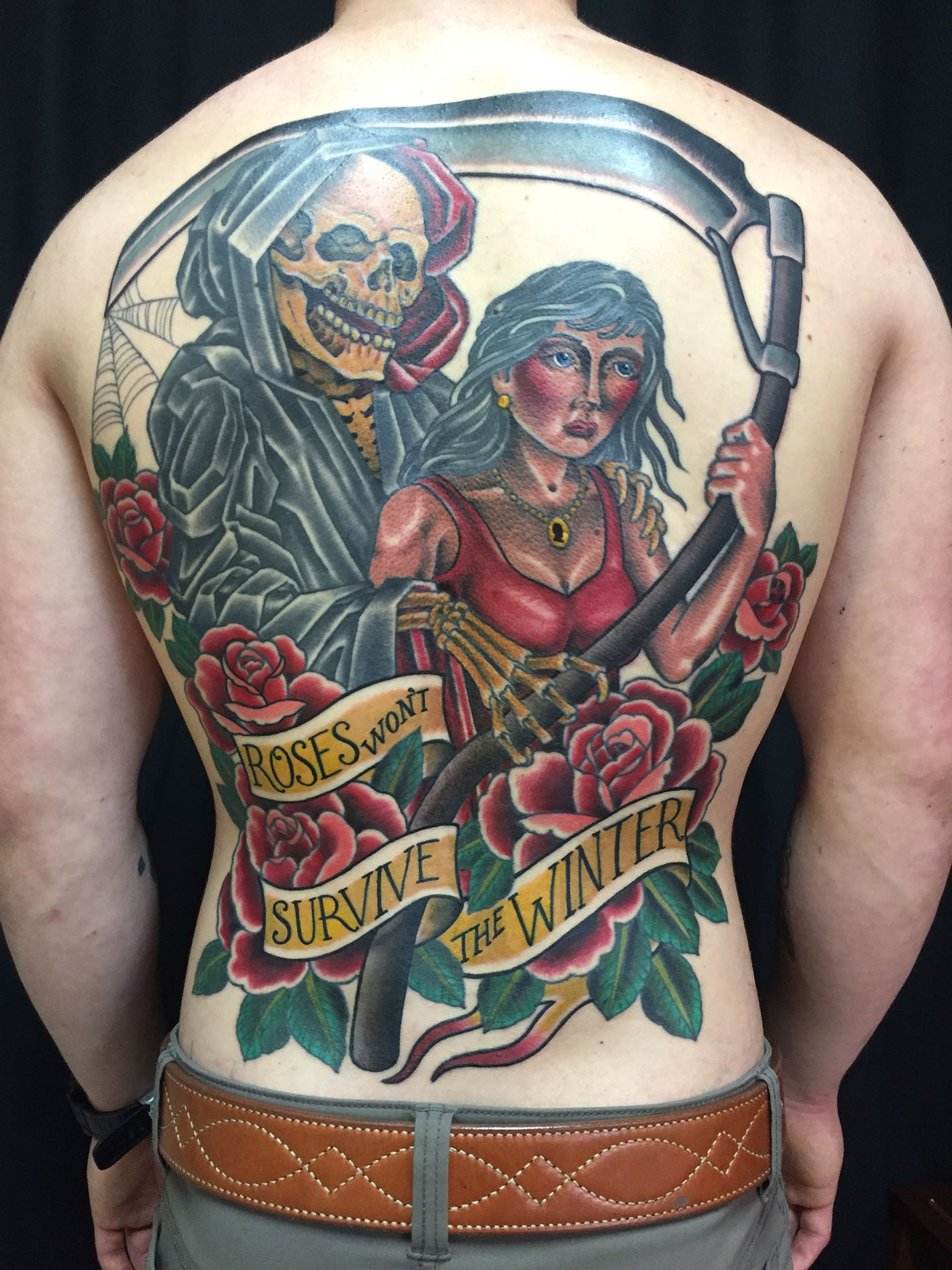 traditional skull tattoo full back 1