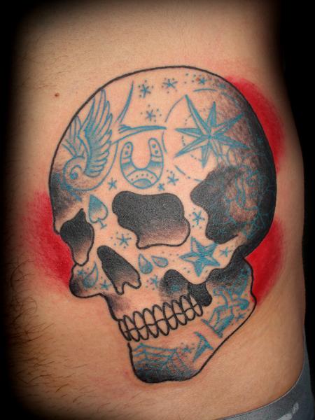 American Traditional Skull Tattoo Designs