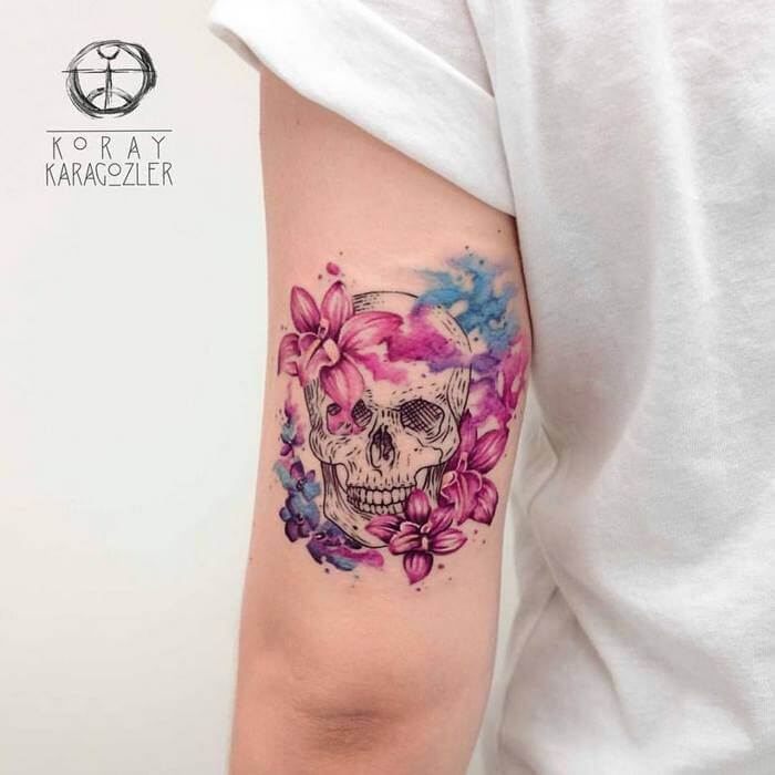 watercolor skull tattoo arm 1