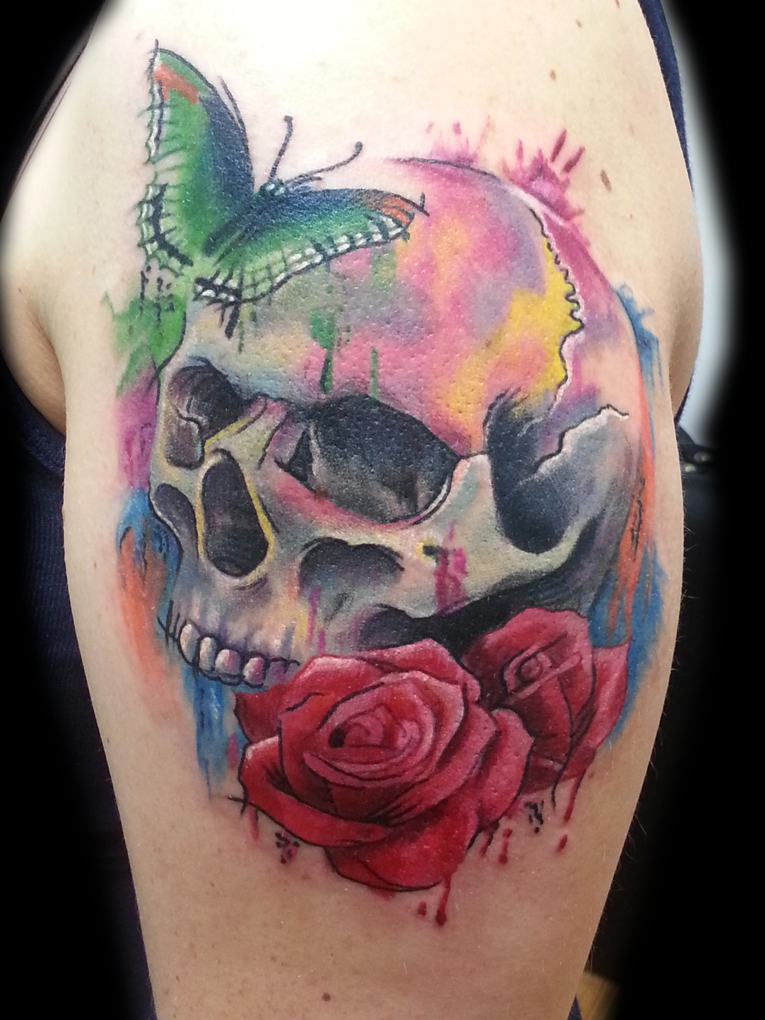 watercolor skull tattoo sleeve 1