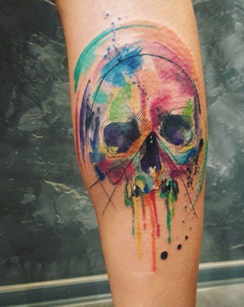 watercolor skull tattoo leg 5