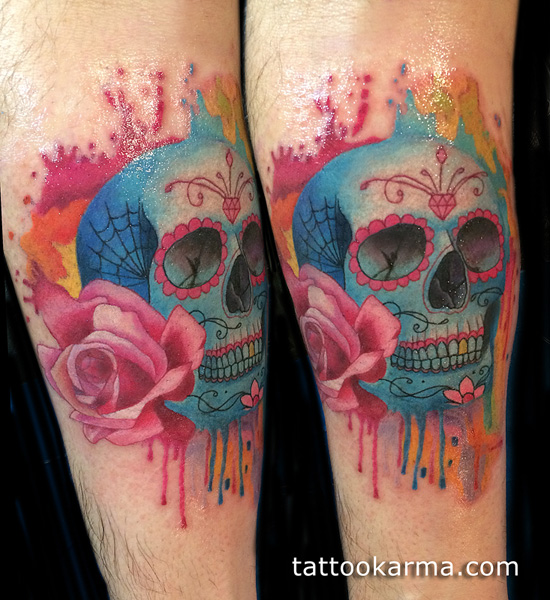 watercolor skull tattoo leg 6