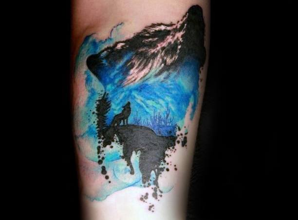 watercolor tattoo blue leg