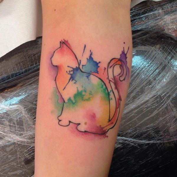 watercolor tattoo cat