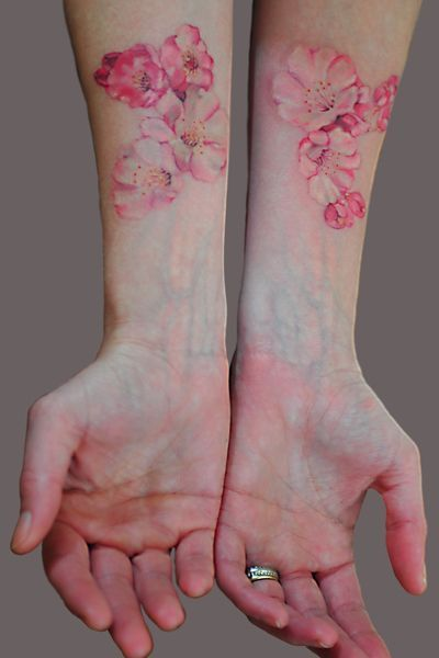 watercolor tattoo cherryblossom
