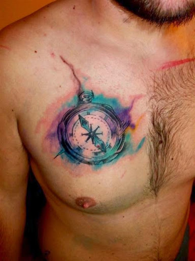 watercolor tattoo compass chest