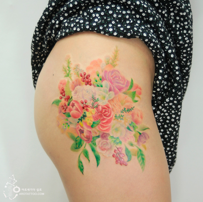 watercolor tattoo floral