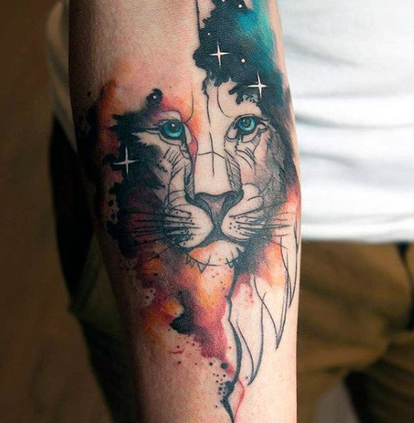 watercolor tattoo men lion arm