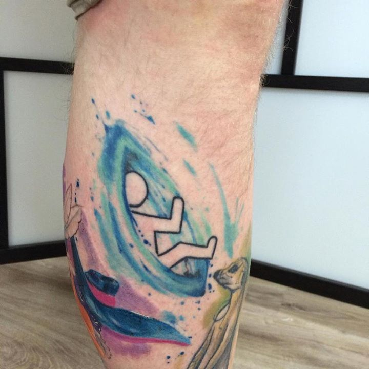watercolor tattoo men portal leg