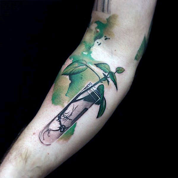 watercolor tattoo men test tube arm