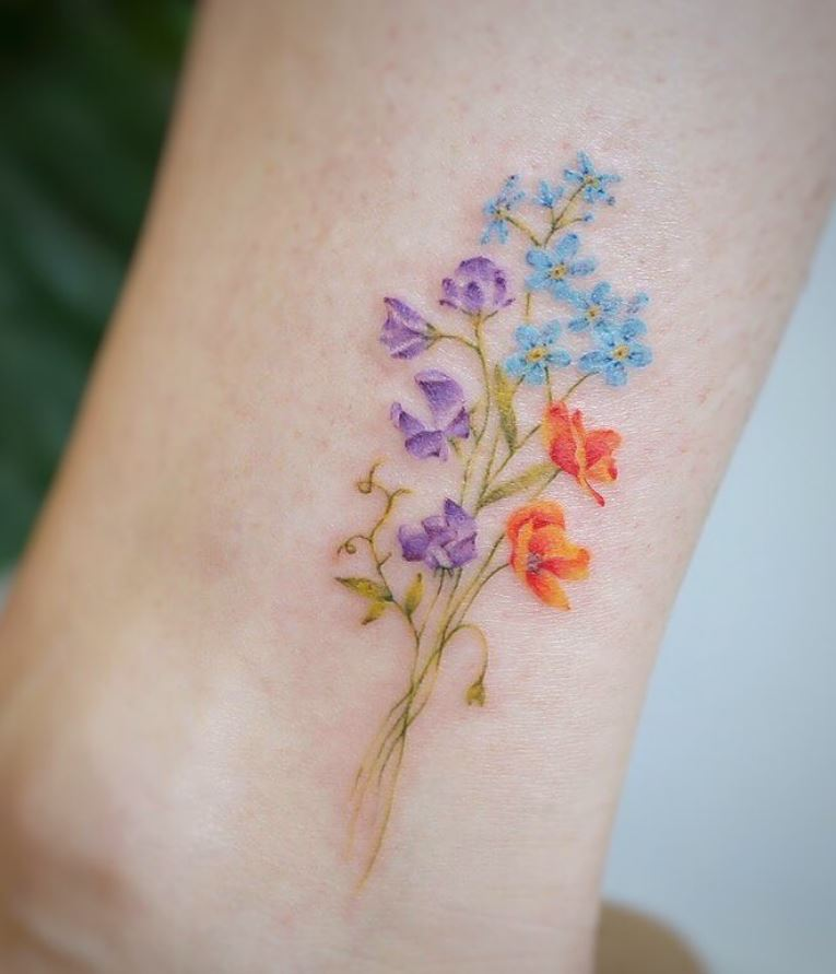 watercolor tattoo no black flowers