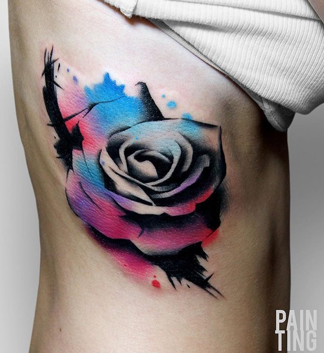 watercolor tattoo rib 2