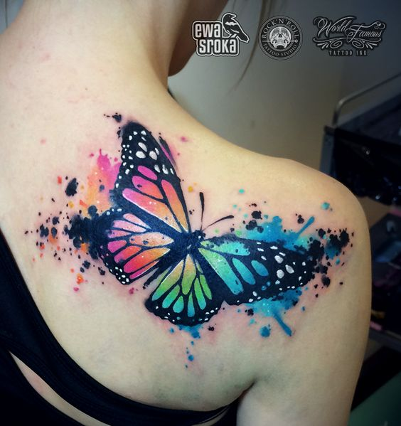 watercolor tattoo women butterfly back
