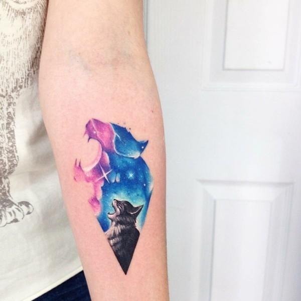 watercolor tattoo women cat arm