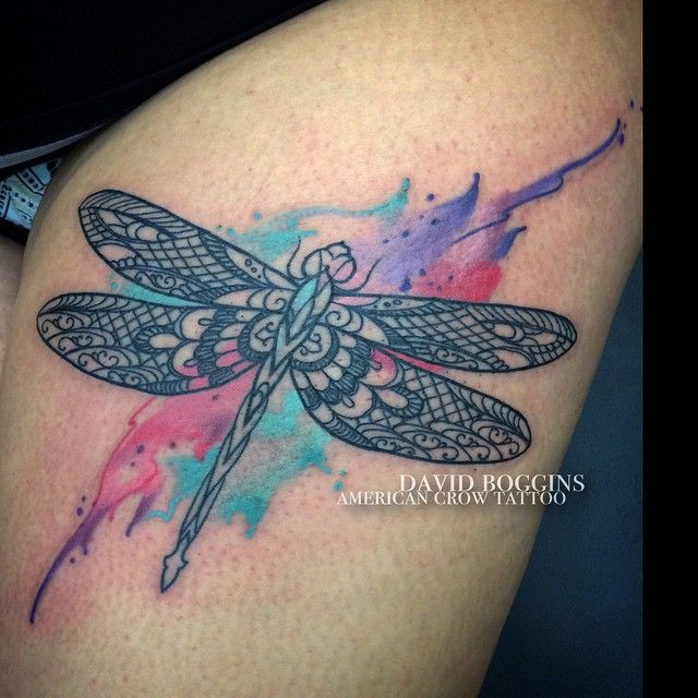 watercolor tattoo women dragonfly