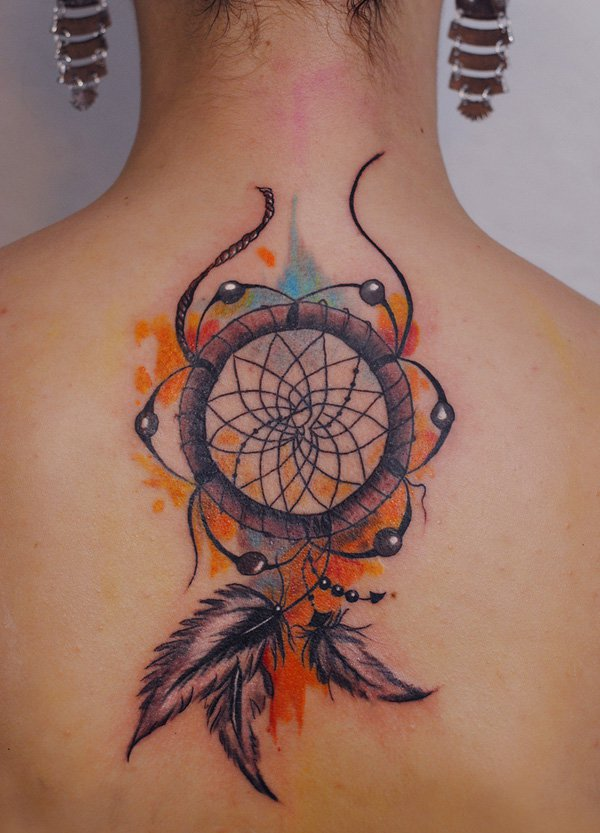 watercolor tattoo women dreamcatcher back