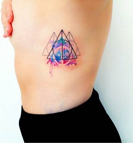 watercolor tattoo women geometric rib