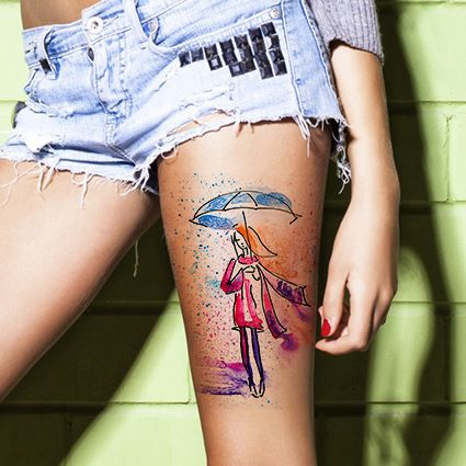 watercolor tattoo women umbrella girl thigh