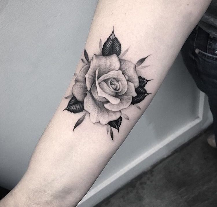 white rose tattoo arm 1