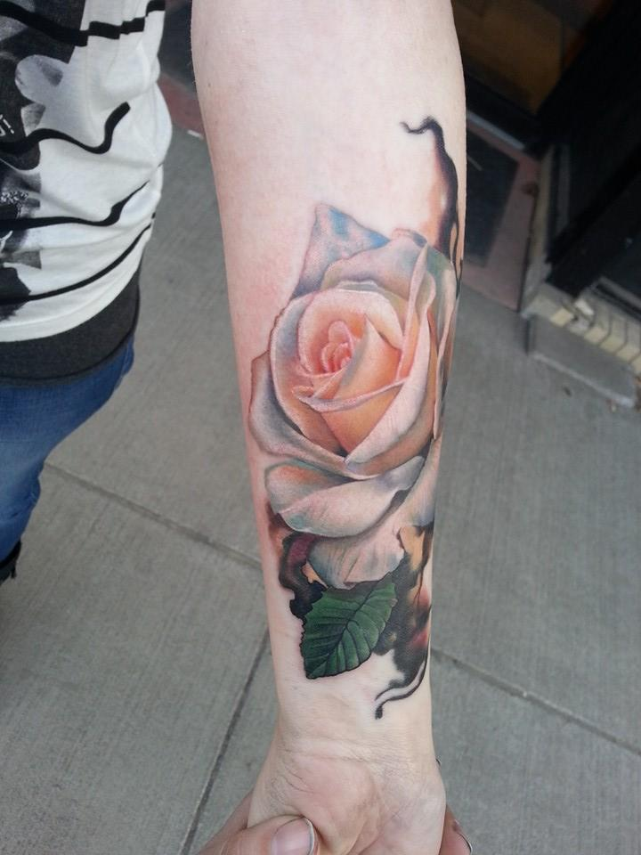 white rose tattoo arm 2