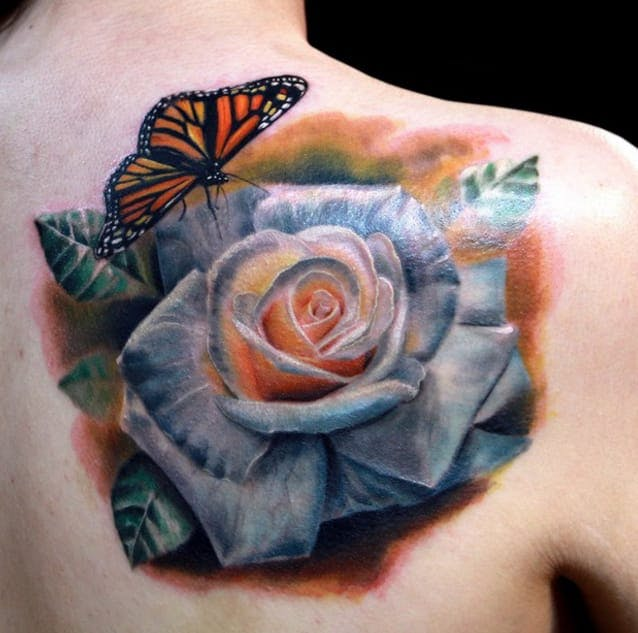 white rose tattoo chest 1