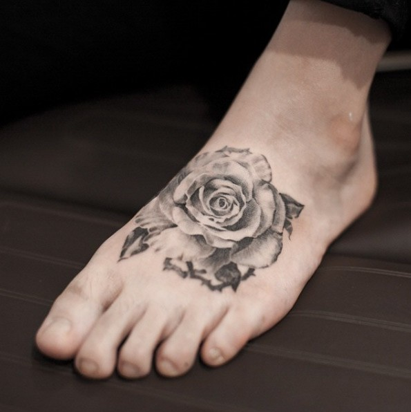 white rose tattoo feet
