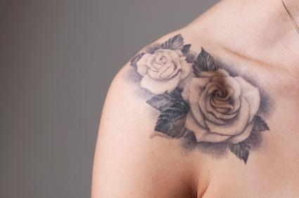 white rose tattoo shoulder 1