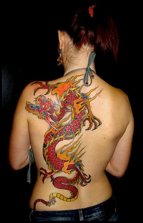 women dragon tattoo back 3
