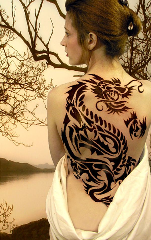 women dragon tattoo back 5