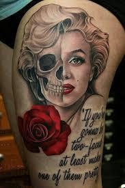 women skull tattoo thigh 2